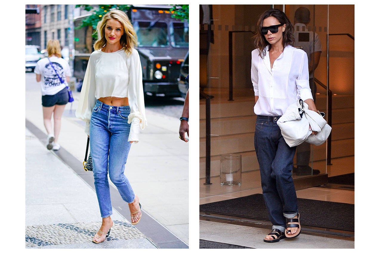 Rosie Huntington-Whiteley and Victoria Beckham both rocking the iconic 'nice top-and jeans look'