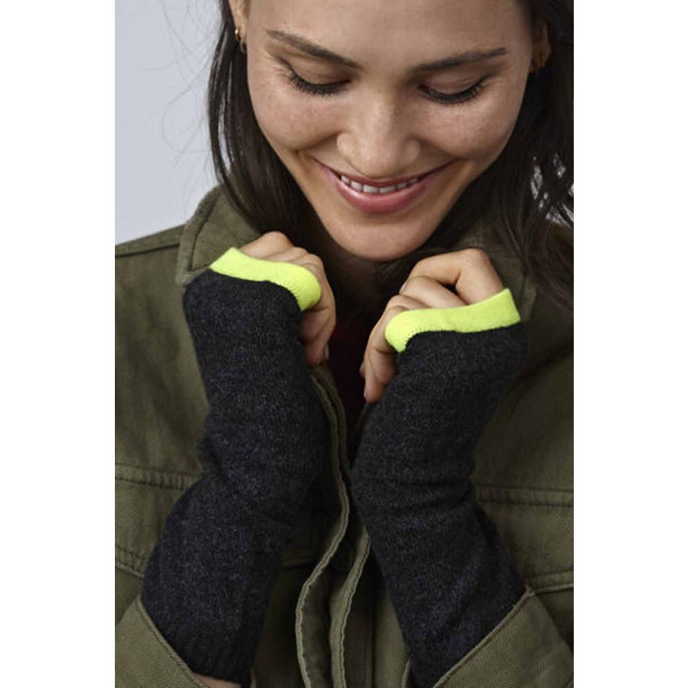 KatieAndJo Cashmere Wrist Warmers Charcoal With Trim