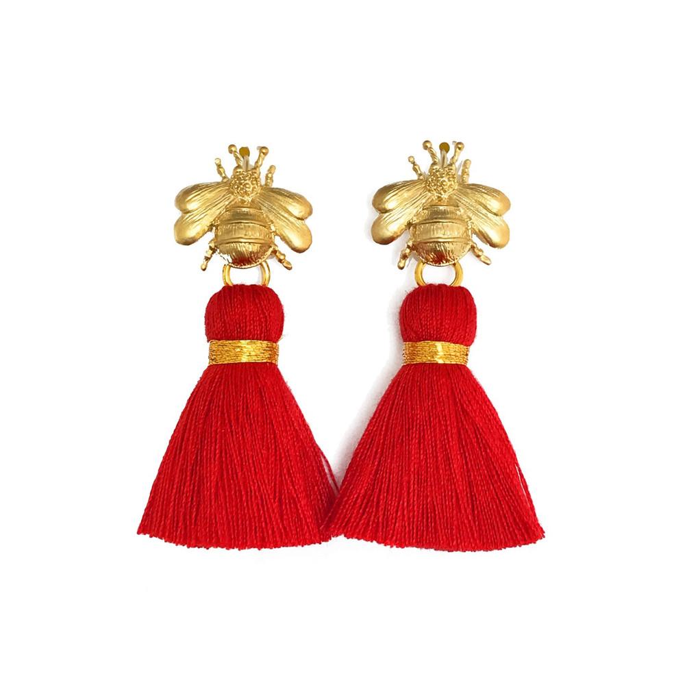 KatieAndJo The Queen Bee Tassel Earrings Red