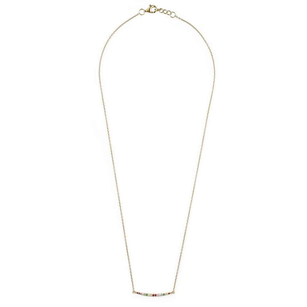 Rosie Fortescue Jewellery Rainbow Curve Necklace Multicoloured