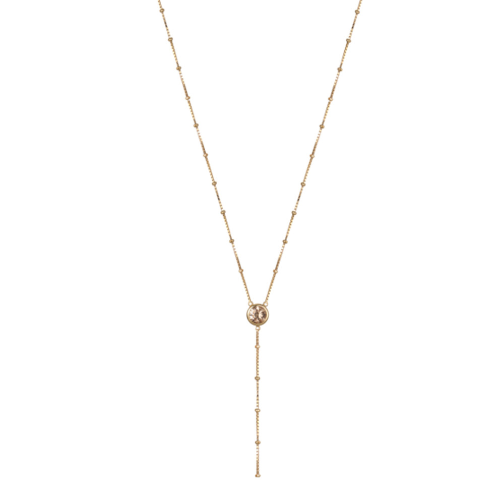 Rosie Fortescue Jewellery Dot Chain Necklace With Champagne Stones Gold