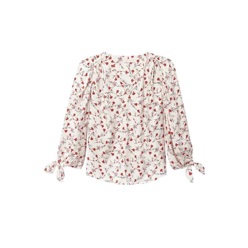 Rebecca Taylor Lia Floral Silk Twill Top
