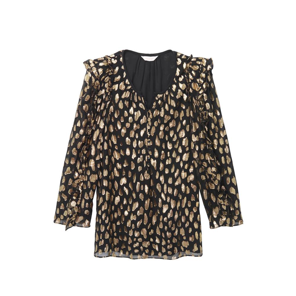 Rebecca Taylor Leopard Metallic Silk