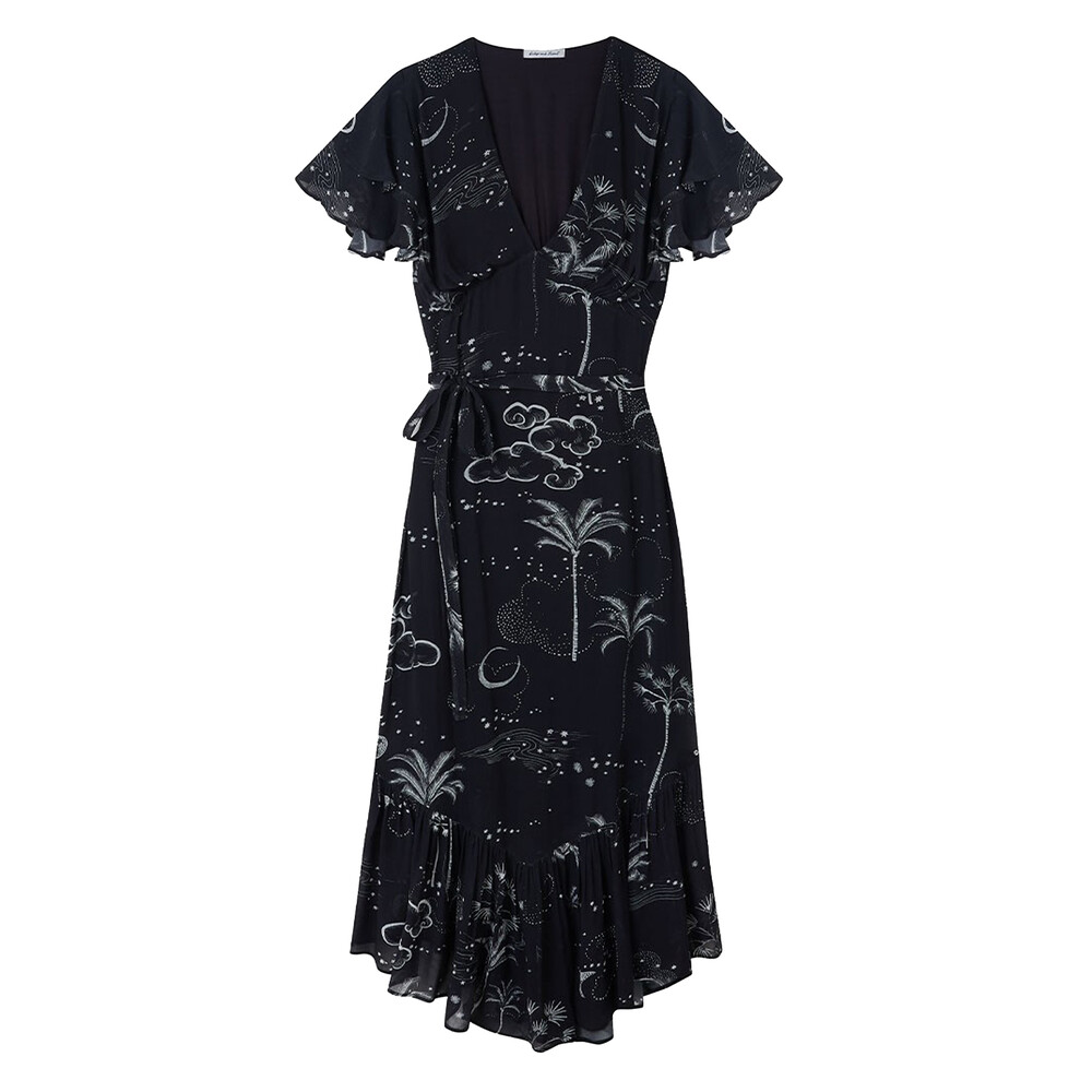 Lily & Lionel Mystic Palm Drew Dress Black