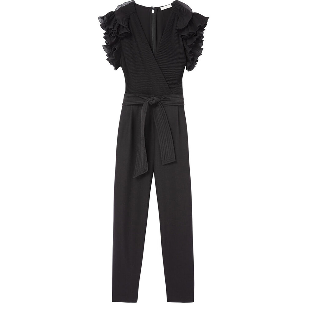 Rebecca Taylor Short Sleeved Ruffle Jumpsuit Black