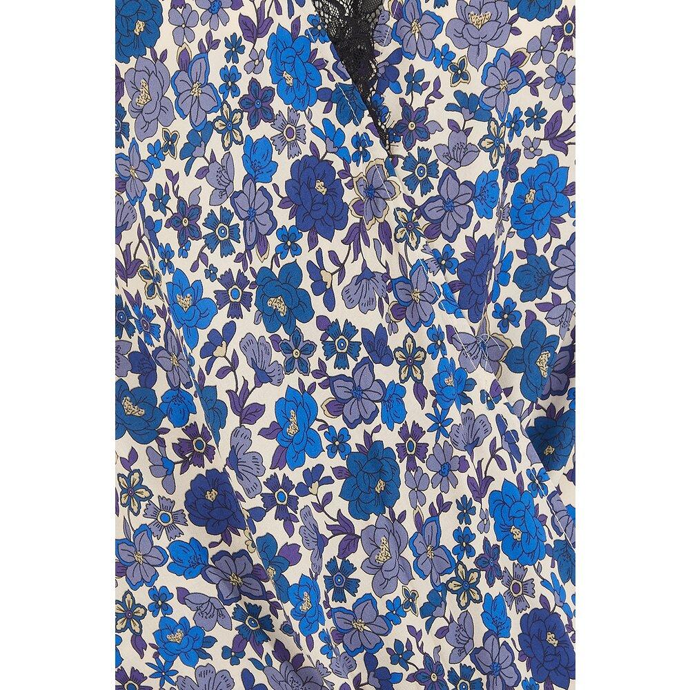 Velvet Lacy Blouse Blue