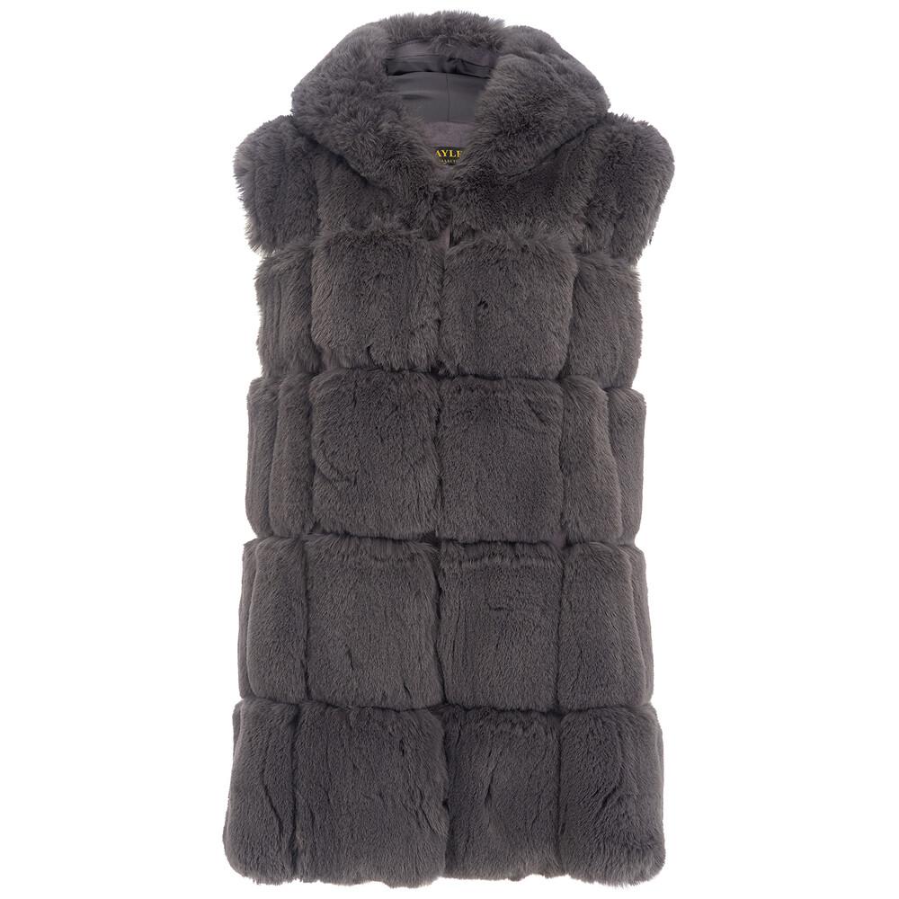Jay Ley Dark Hooded Faux Fur Gilet Grey