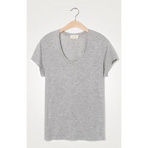 American Vintage Jacksonville Round Neck T Shirt in Light Grey