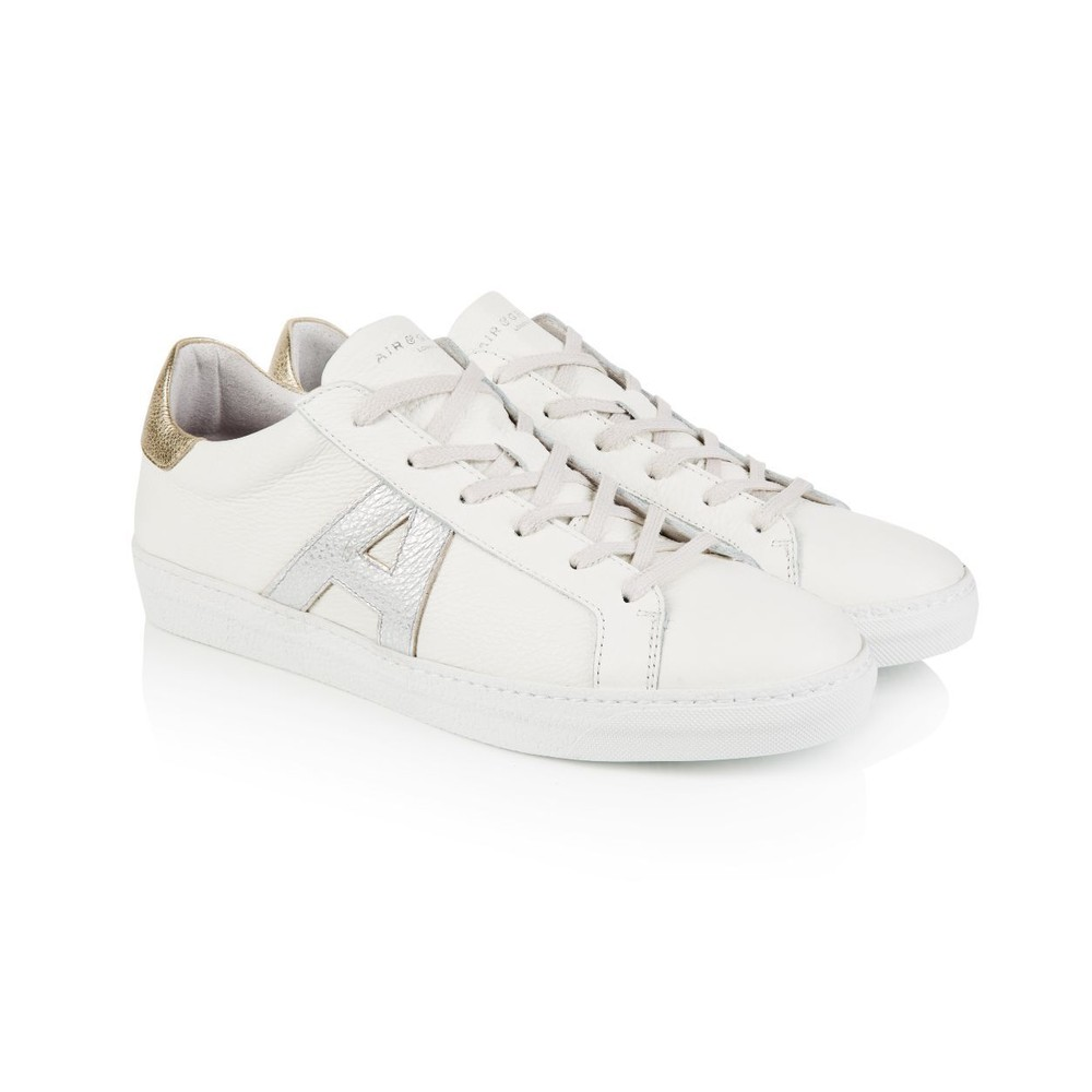 Air & Grace Cru Signature Trainers in White/Silver/Gold White, Silver and Gold