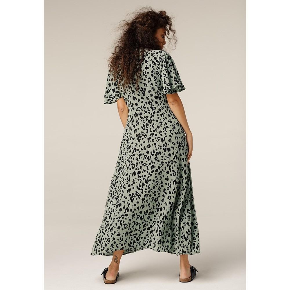 Lily & Lionel Lola Dress in Sage Leopard Green