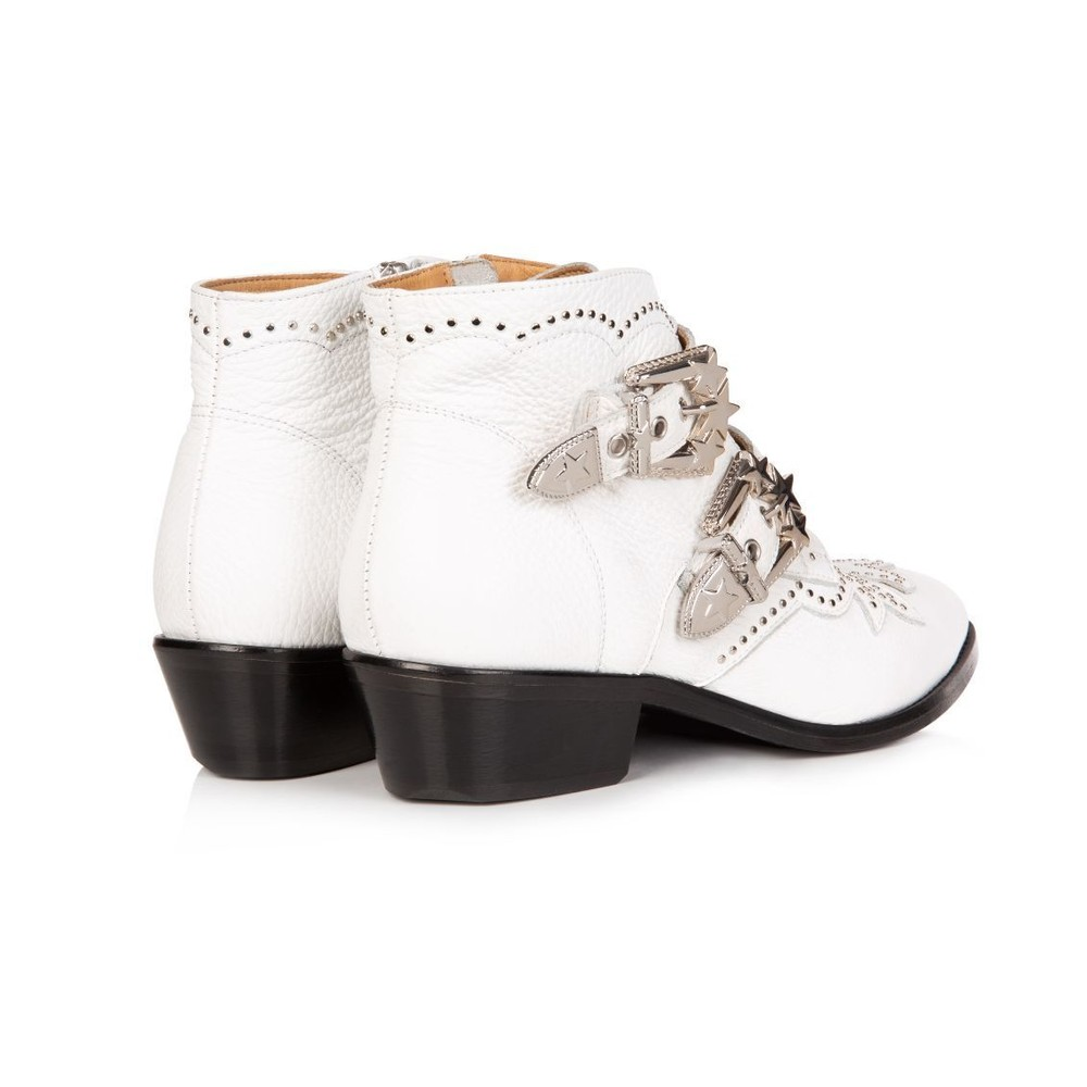 Air & Grace Starlight White Leather Ankle Boots White