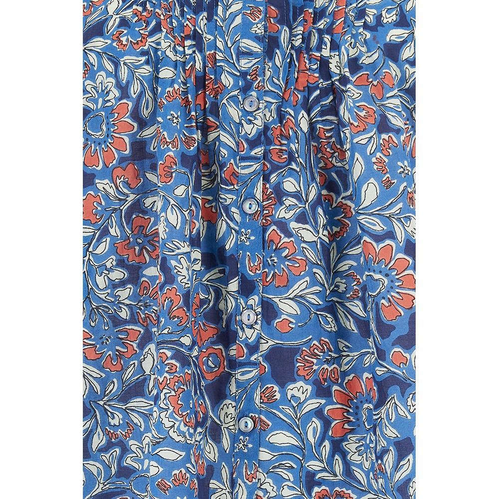 Velvet Jude Printed Voile Blouse in Henna Blue