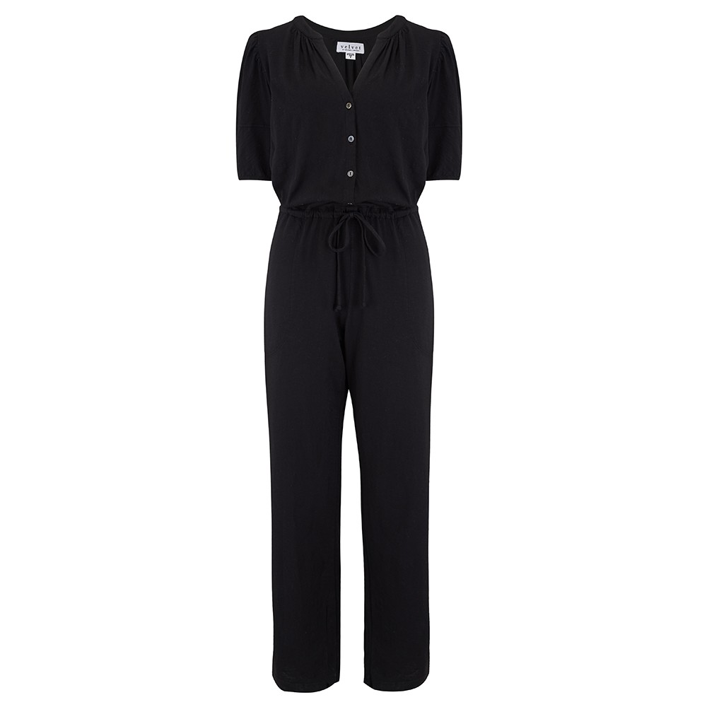 Velvet Lyra Jumpsuit in Black Black
