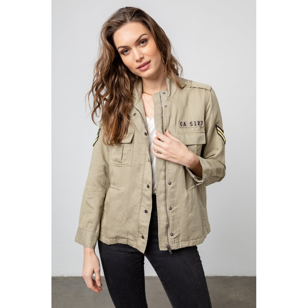 Rails Trey Jacket in Light Sage Arrow Patch Grey