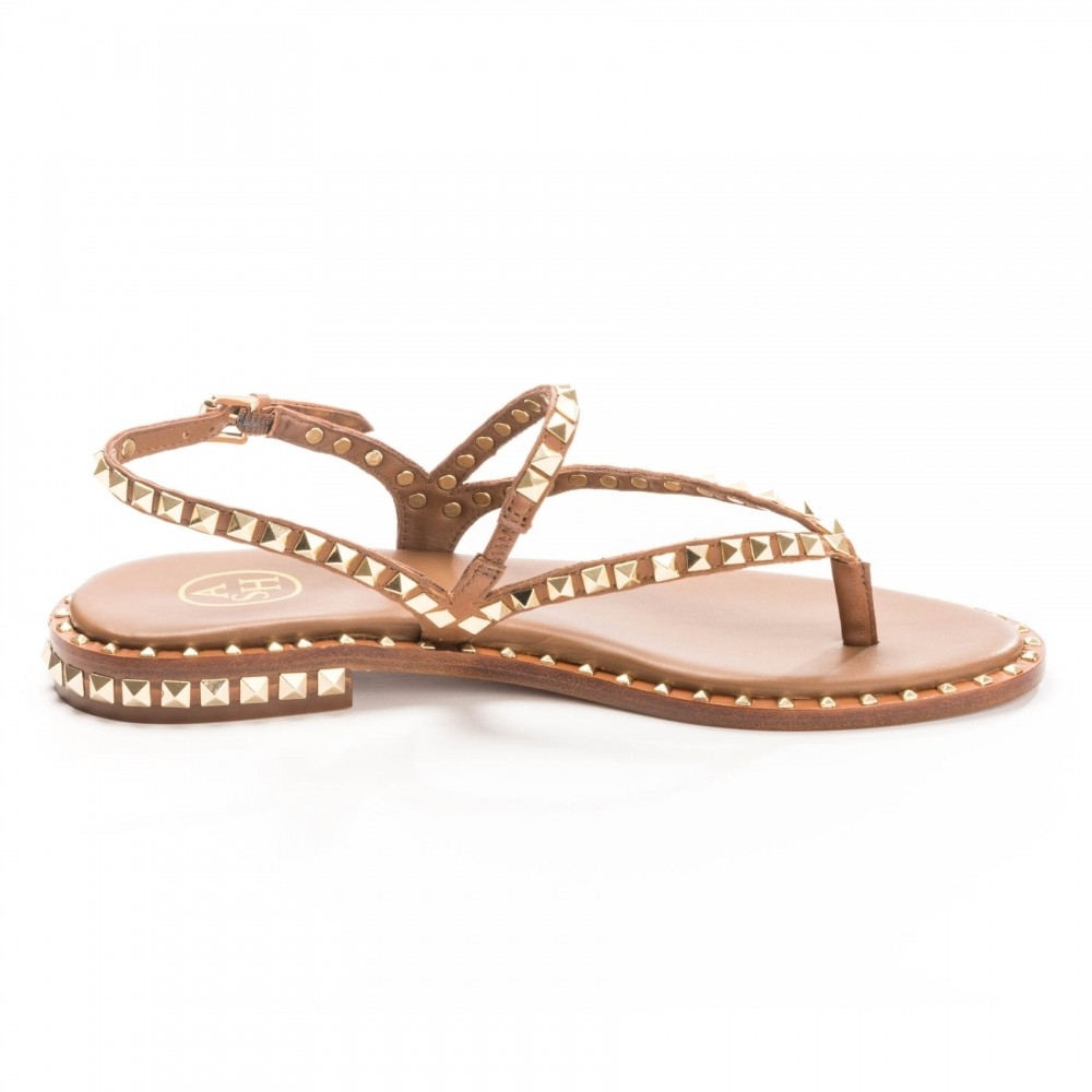 Ash Play Studded Sandals in Soft Brazil Brown