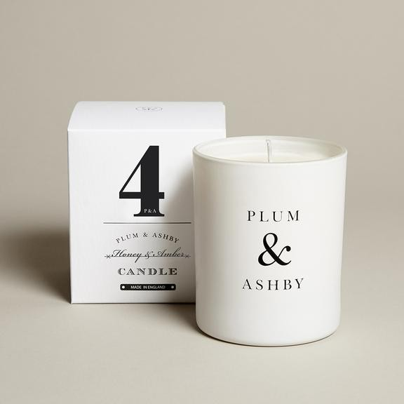 Plum & Ashby Honey & Amber Candle White