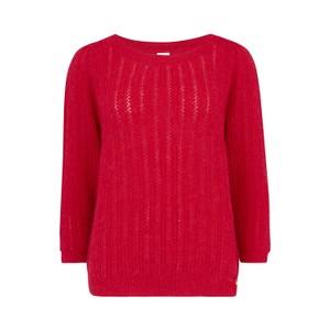 Des Petits Hauts Atika Sweater in White/ Red in Red