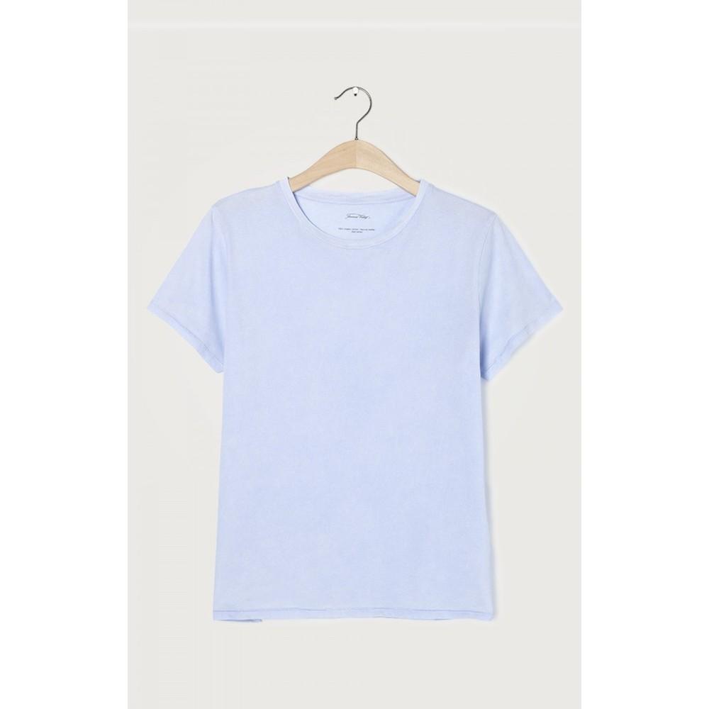 American Vintage Short Sleeve Round Necked Straight T Shirt Blue