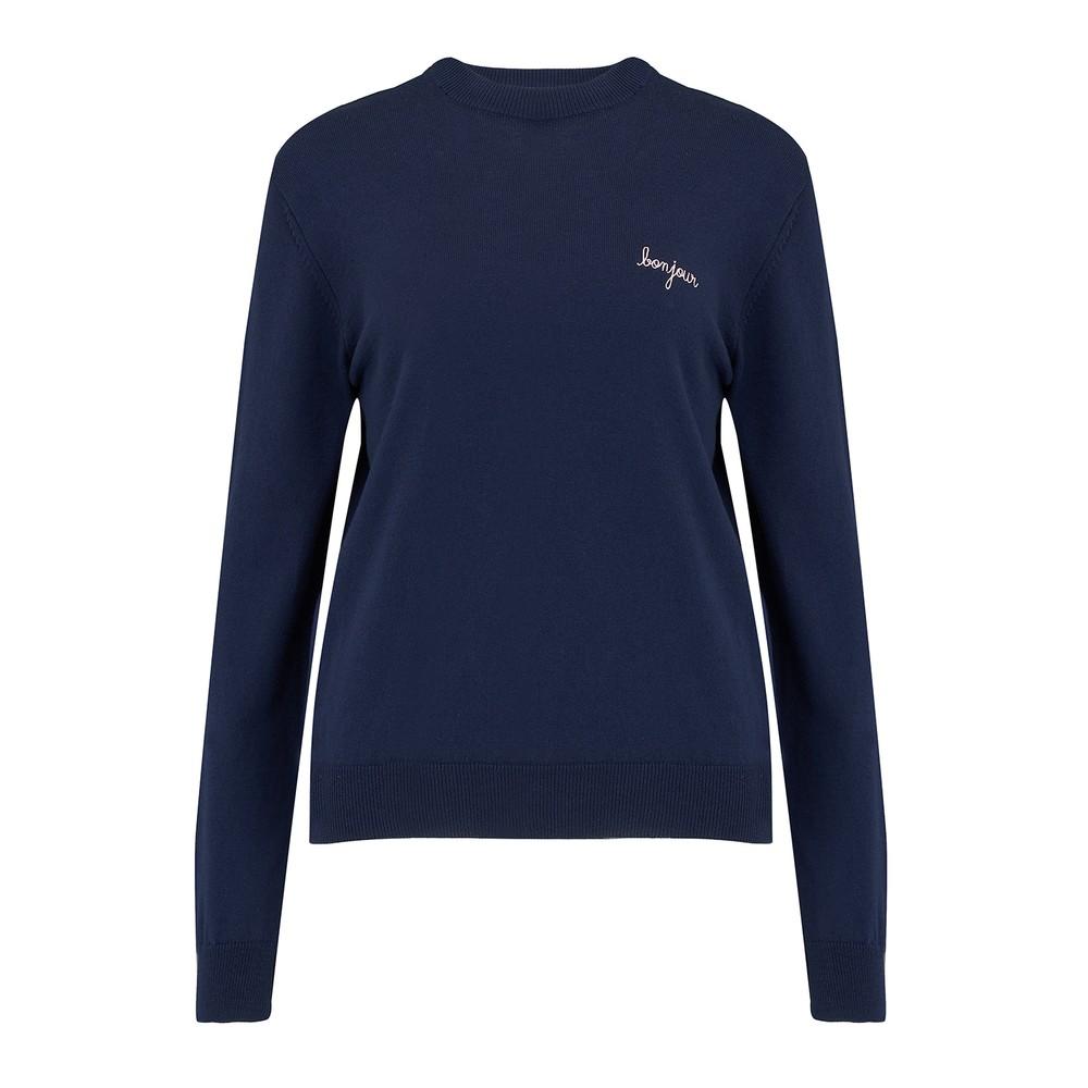 Maison Labiche Bonjour Crew Neck Sweater in Eclipse Blue