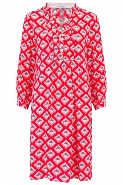 Libelula Chloe Tunic in Red Star Diamond Print Red