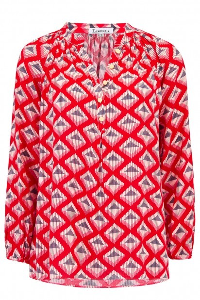 Libelula Lizzie Top in Red Diamond Print Red