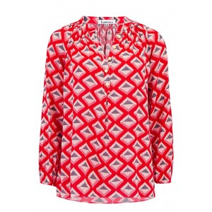 Libelula Lizzie Top in Red Diamond Print