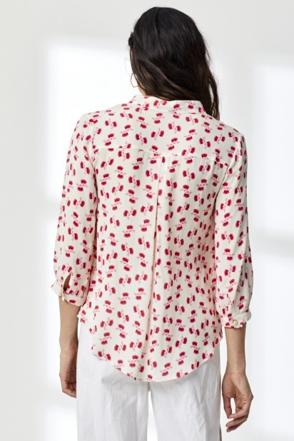 Libelula Delphine Top in White and Red Hiawatha Print Red