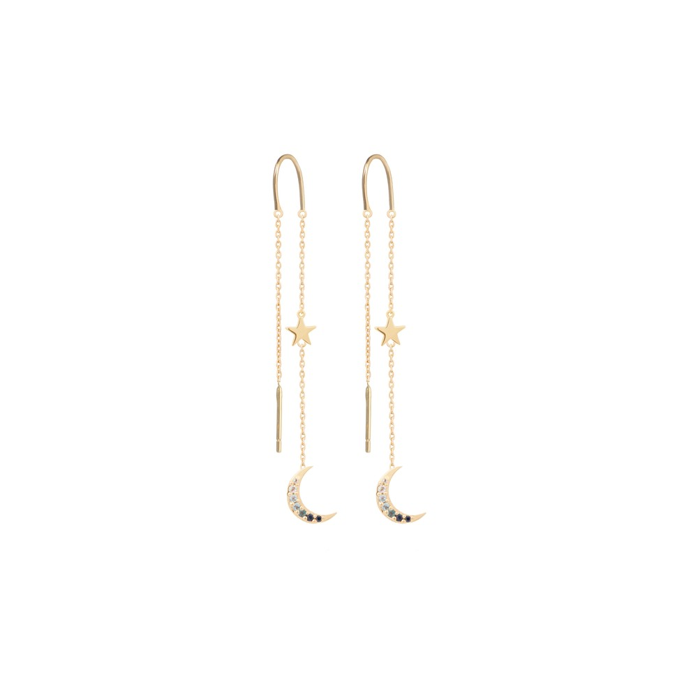 Tada & Toy Midnight Needle & Thread Earrings Gold Gold