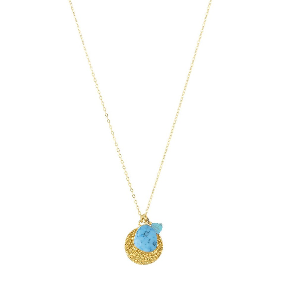 Ashiana Short Gold Roman Coin Necklace Turquoise