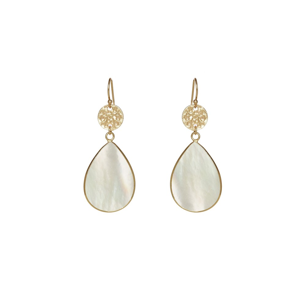 Ashiana Gold Plated Earrings with beaten discs White