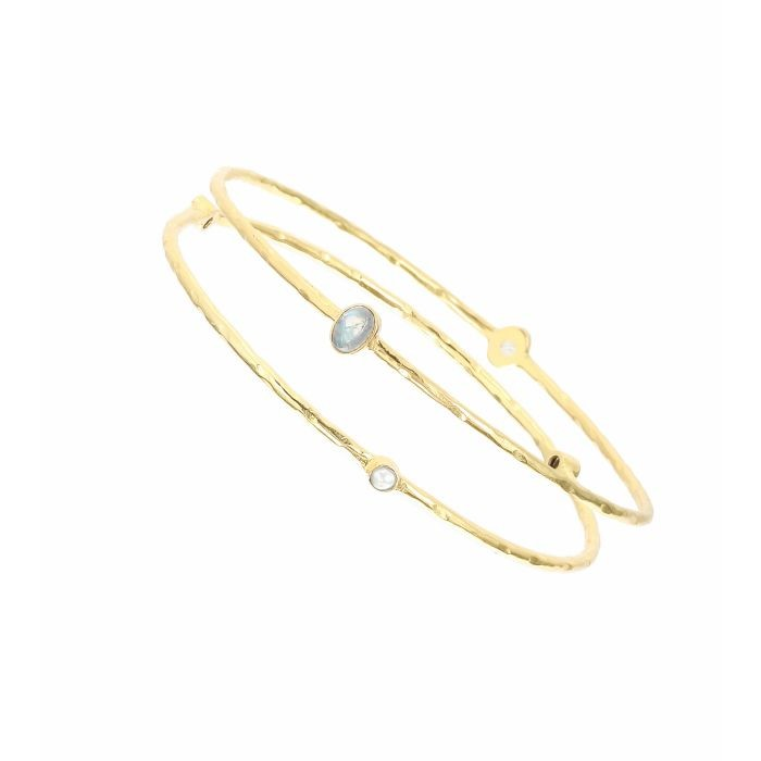 Ashiana Set of Two Pearl Gold Bangles White