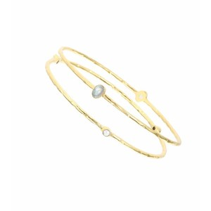 Ashiana Set of Two Pearl Gold Bangles