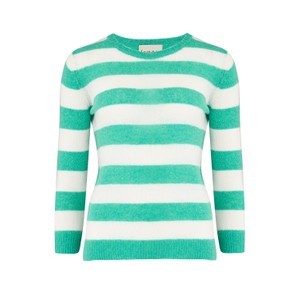 Jumper 1234 Lightweight Stripe Crew Jumper in Emerald
