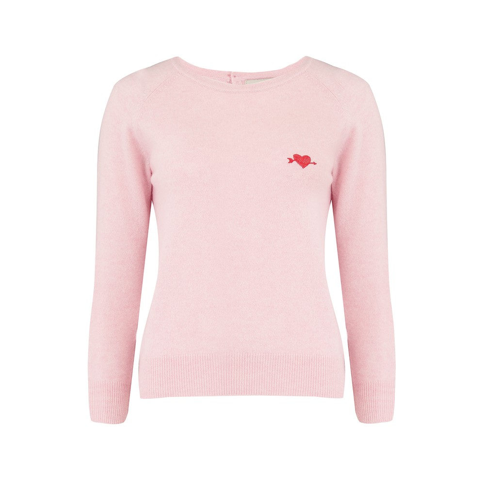 Jumper 1234 Embroidered Heart Crew Jumper in Blossom Pink