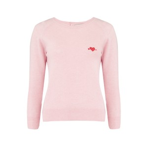 Jumper 1234 Embroidered Heart Crew Jumper in Blossom