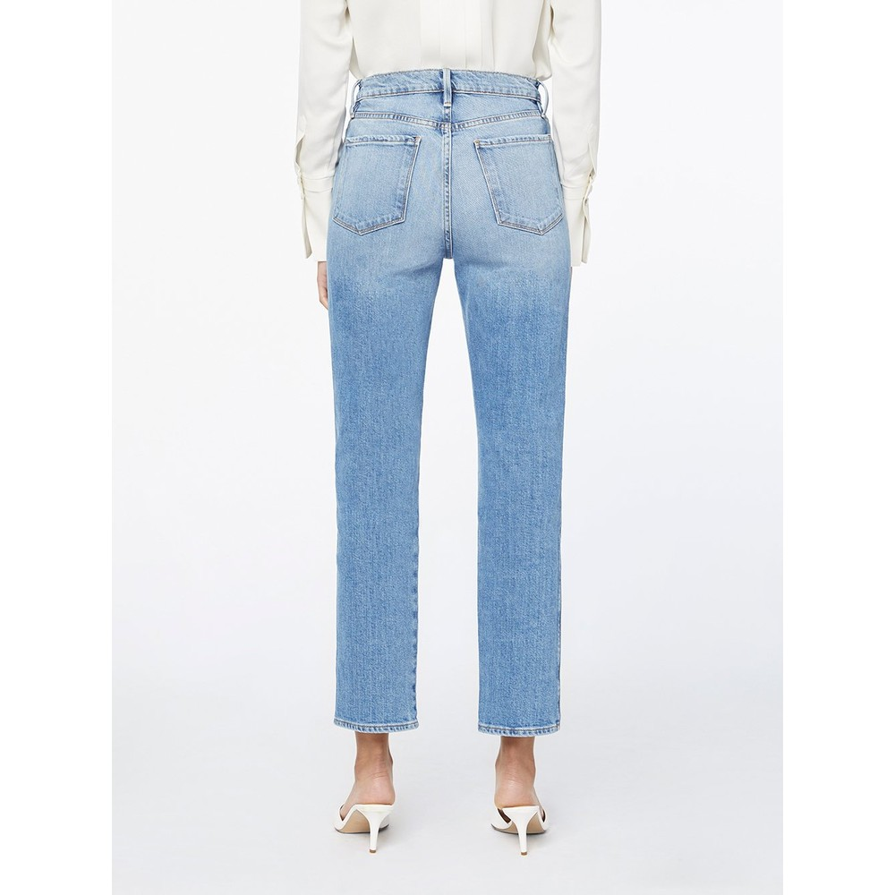 Frame Denim Le Sylvie Slender Straight Jeans in Alamitos Light Denim