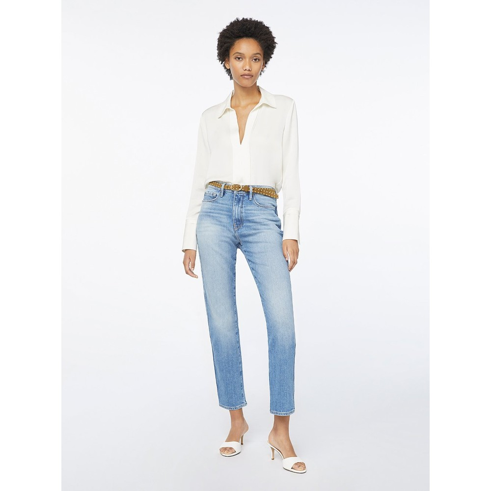 Frame Denim Le Sylvie Slender Straight Jeans in Alamitos Light Denim