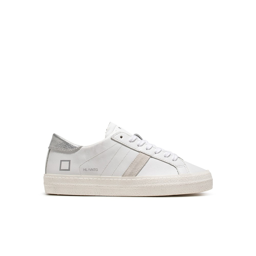 Date Hill Low Vintage Calf Trainers in White and Silver White