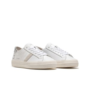 Date Hill Low Vintage Calf Trainers in White and Silver