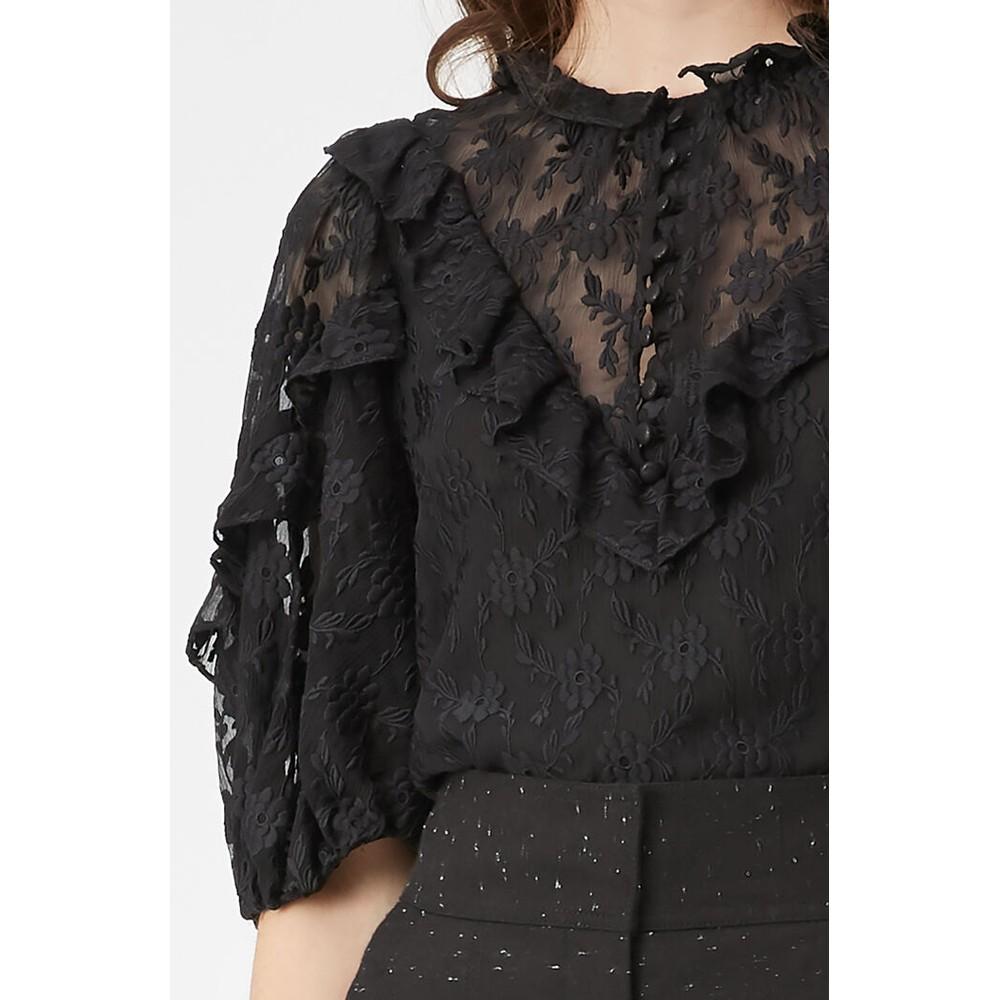 Rebecca Taylor Vine Embroidery Blouse Black