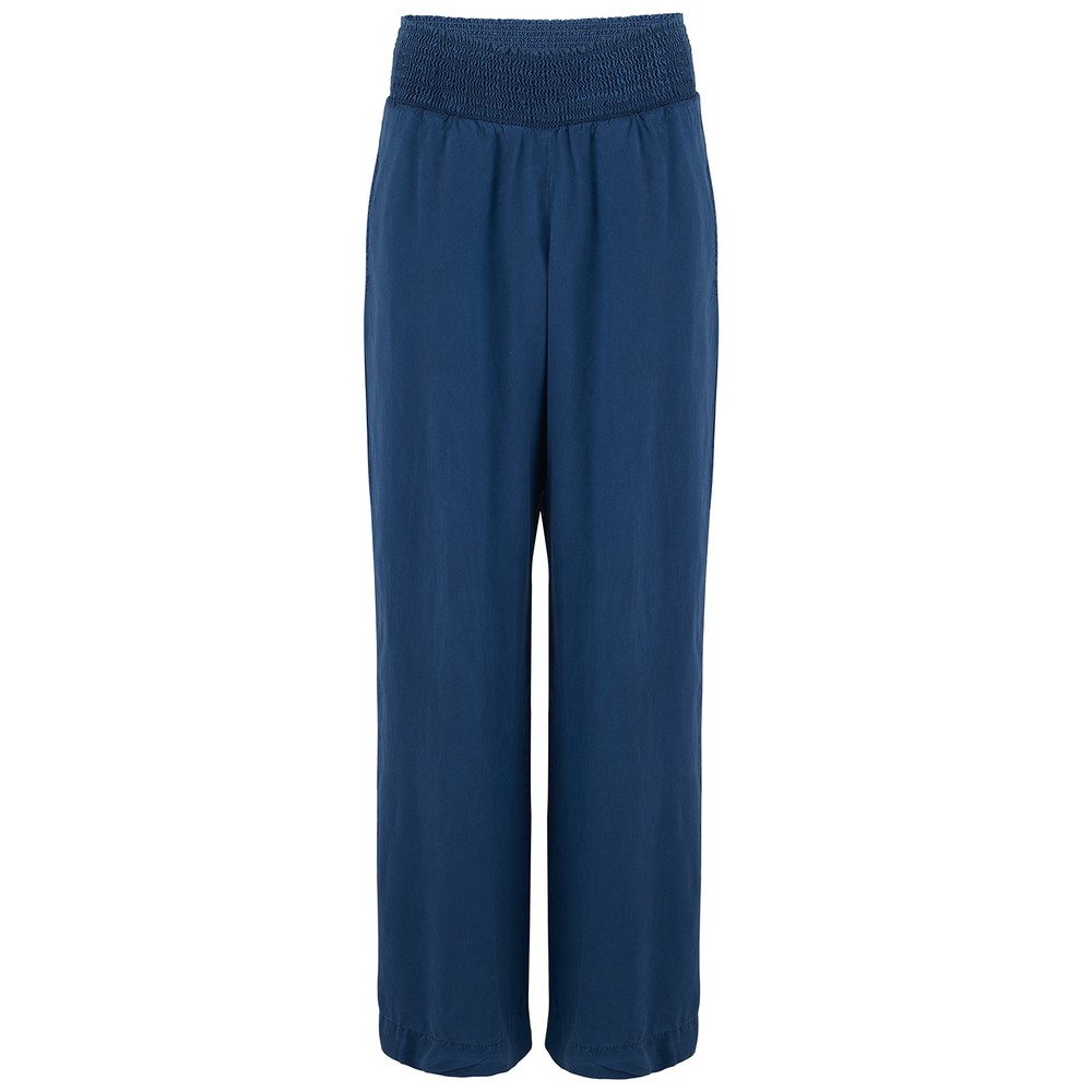 Bella Dahl Smocked Wide Leg Trousers Navy
