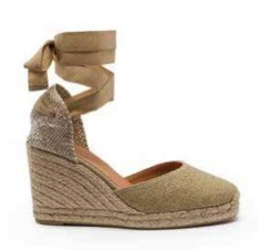 Castañer Carina 80 Espadrilles in Dusty Pink in Gold