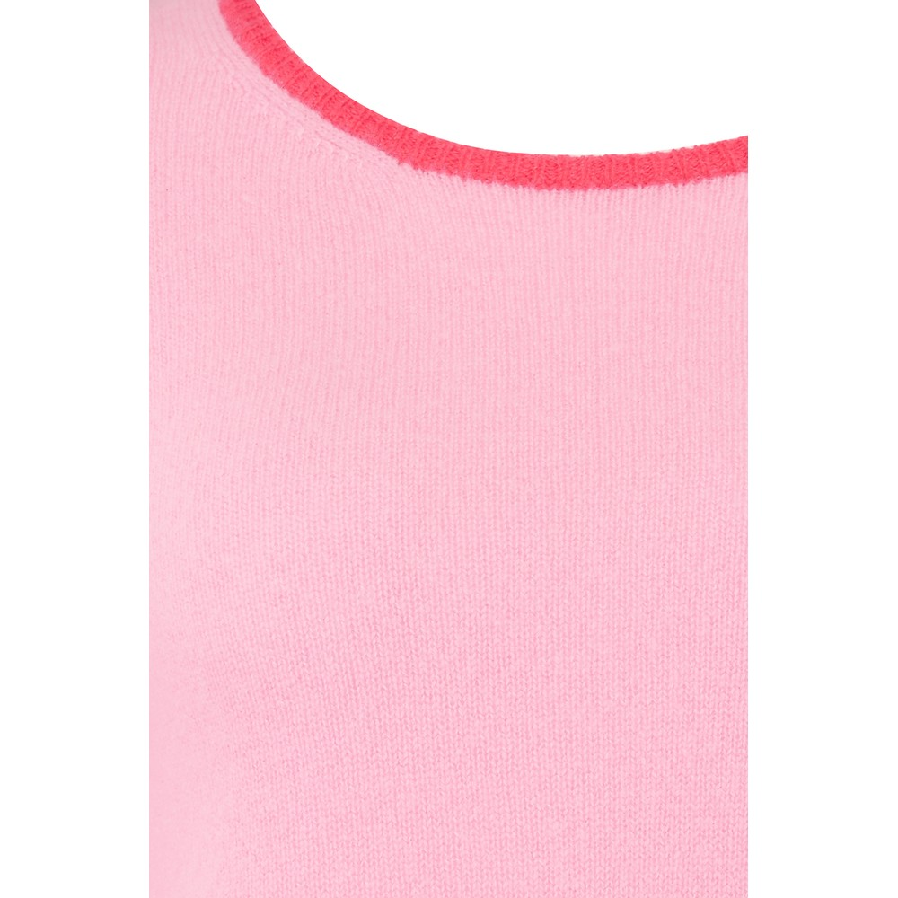 Jumper 1234 Lightweight Tipped Crew in Moss Pink