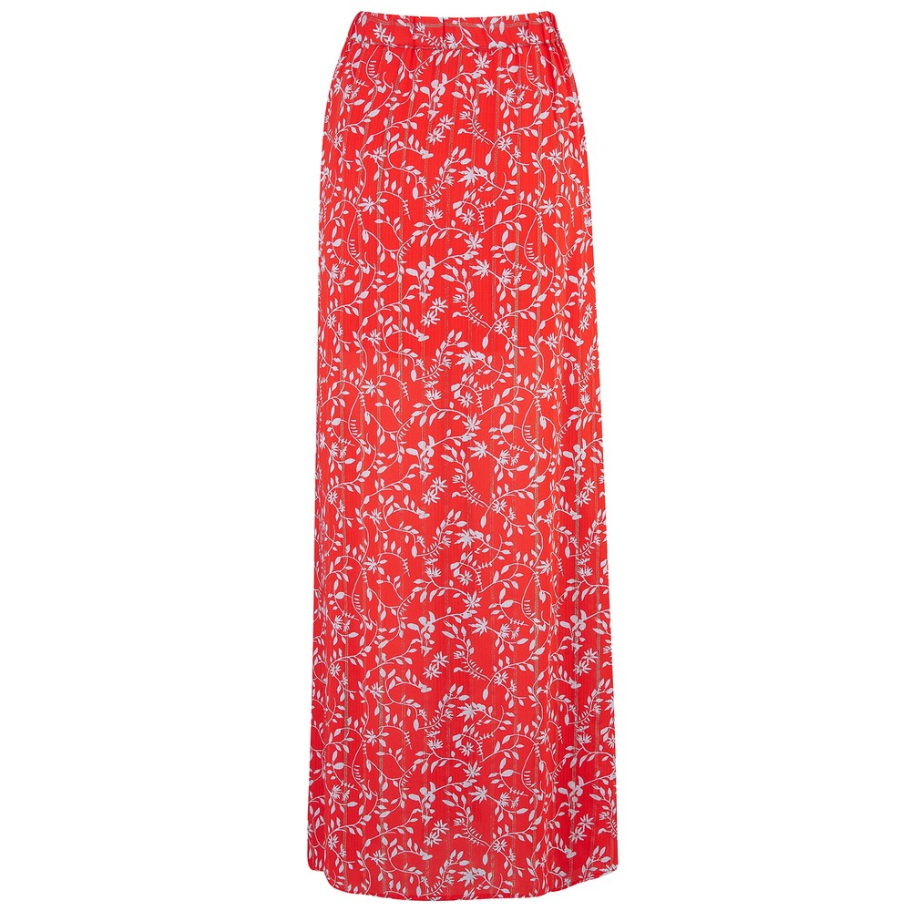 Berenice Midi Printed Skirt with Lurex in Red Red