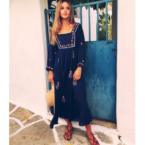 Pink City Prints Folklore Dress in Navy
