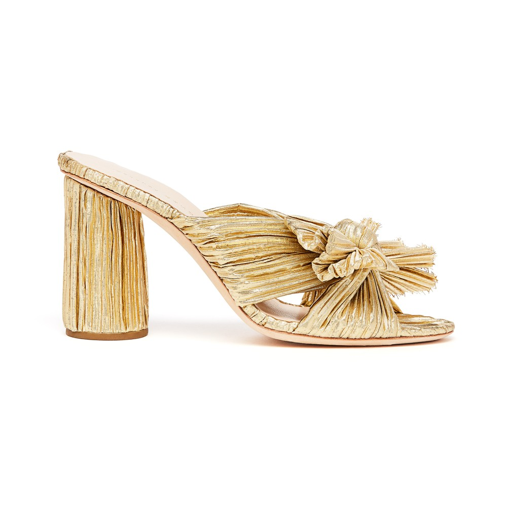 Loeffler Randall Penny bowed detailed mules Gold