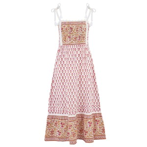 Pink City Prints Elena Dress in Rhubarb and Custard