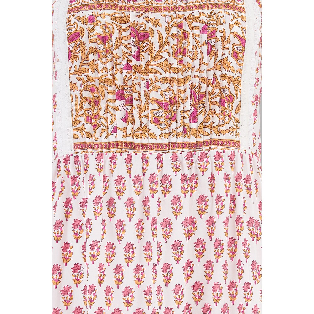 Pink City Prints Elena Dress in Rhubarb and Custard Multicoloured