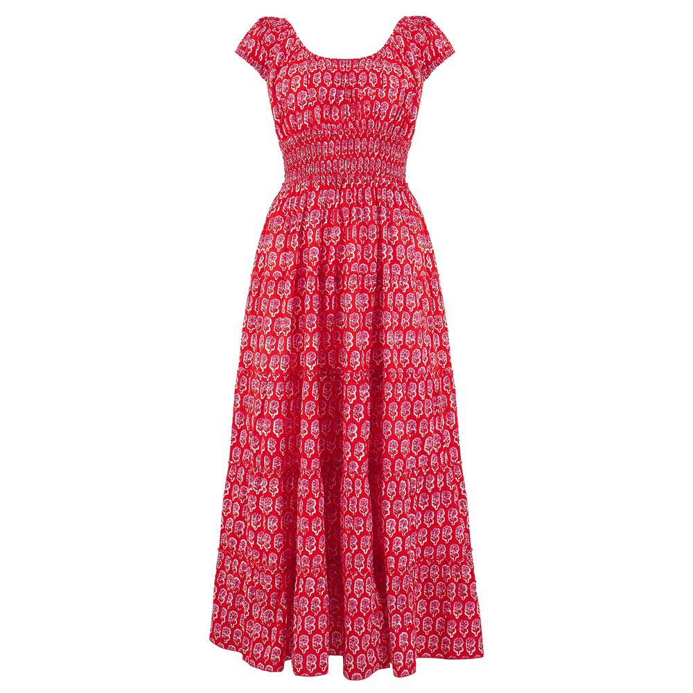 Pink City Prints Rah-rah Sleeveless Midi in Ruby Daisy Red