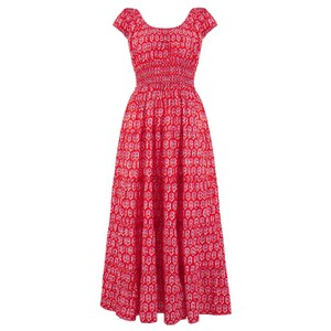 Pink City Prints Rah-rah Sleeveless Midi in Ruby Daisy
